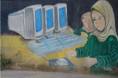 Education in Yemen - drawing on the school wall, Credit: Loukie Levert